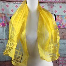 "Japanese Yellow Geometric Design Scarf Sheer 42x15"" Wpl 10360 Vintage"