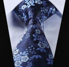 Cravatta da Uomo in Blu & Nero-satin floreale matrimonio Paisley Seta Cravatta REGALO cucita