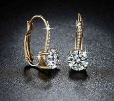 3Ct Round Cut Brilliant Moissanite Dangle Earrings 14K Yellow Gold!!