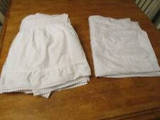 CANNON TWIN BED SKIRT &FLAT  SHEET  EMBROIDERY TRIM BEAUTIFUL WHITE