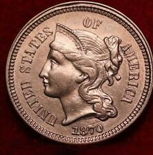 Uncirculated 1870 Philadelphia Mint Nickel Three Cent Coin