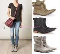 Vintage Womens Suede Western Cowboy 02W Leather Ankle Boots Pull On Slouch Shoes