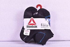 Youth Boy's 6-Pair Reebok Low Cut Performance Socks Grey/Blue/Black Choose Size