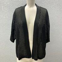 Allison Daley Cardigan Sweater Women's 2X Black Knit Open Front 3/4 Sleeve