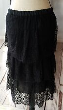 Seven For All Mankind Skirt Black Tiered Lace Ruffled Elastic Waist Size Small