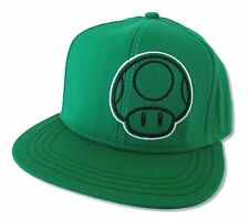 "SUPER MARIO ""1-UP MUSHROOM"" GREEN SNAPBACK BASEBALL HAT CAP NEW OFFICIAL ADULT"