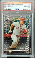 2019 Bowman Platinum ICE Refractive Style MIKE TROUT Card PSA 10 GEM MINT Pop 13