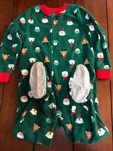 4T Christmas Sleeper Pajamas Red Green one piece Santa Reindeer Penguins