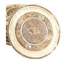 Bastone di legno circolare incenso titolare con ELEFANTE + Fiore (K19)