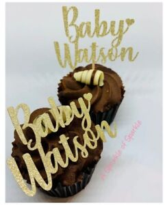 12 PERSONALISED BABY NAME GLITTER BABY SHOWER CHRISTENING CUPCAKE TOPPERS TOPPER
