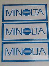 3x Job Lot of Vintage Minolta Camera Vinyl 115mmx50mm Dealer Stickers