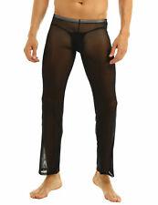 Men Sheer  Mesh Long Johns Pants Trousers Lingerie Underwear Panties Nightwear