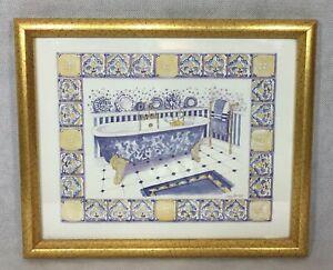 Bathroom Art Framed Print Gold & Blue Bathtub Lucy Davies