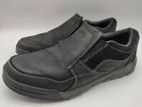 $100 Merrell Berner Moc Men's Black Leather Slip On Loafer Shoes Size 8