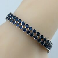 925 Sterling Silver Blue Sapphire Round Double Row Chain Tennis Bracelet Jewelry
