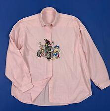 Camicia donna usato camicetta quadri rosa M donald duck shirt vintage T5363