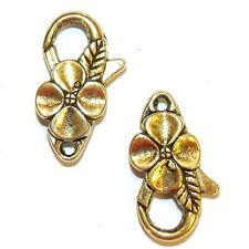 ML5142L Antiqued Gold Large 25mm Flower Design Lobster Claw Focal Clasp 10pc