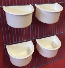 4 Bird Cage 9cm Water Food Bowl Feeder 2 Hook Cup Budgie Cockatiel Parrot Finch