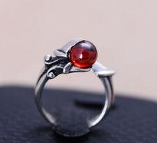 K01 Ring Silber 925 Drache Drachenklaue hält Kugel aus Granat größenverstellbar