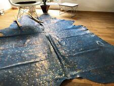 Kuhfell Rinderfell Metallic Blau und Gold - ca. 215 cm x 174 cm, NEU, RUG