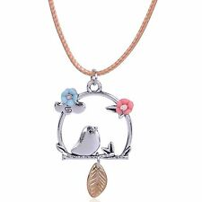 Luxury Vintage Style Bronze Silver Bird Pendant Leather Chain Flowers Gift N516