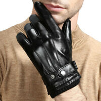 Men's Black Winter Touch Screen Driving Gloves Genuine Leather Wool Wrist M L XL