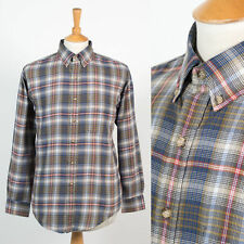 MENS VINTAGE CASUAL STYLE PLAID CHECK OXFORD STYLE SHIRT BUTTON DOWN COLLAR M