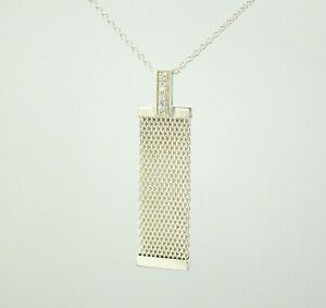"""Tiffany & Co Sterling Silver & Diamond   Mesh Somerset Necklace 16"""" Rare"""