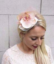Peach Blush Pink Silver Orchid Flower Fascinator Net Hair Headband Races 3711
