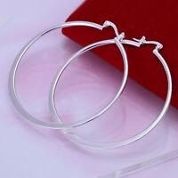 925 Sterling Silver Filled 55mm Large Hoop Ladies Dangle Solid Earrings jewelery