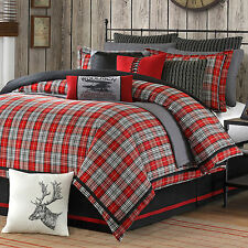 RED PLAID 4pc Queen COMFORTER SET : LODGE CABIN RED BLACK WOVEN JACQUARD BEDDING