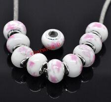 2pz  perline in ceramica  e argento 925 ,13x10mm fiore rosa