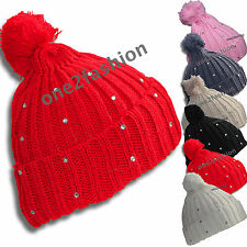 Womes Knitted Wooly Winter Warm Ribbed Skiing Beanie Hat Head Cap Soft Acrylic
