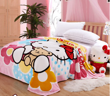 """New Cute For Hello Kitty Super soft Plush Bedroom Blanket Throw Cover 59""""x78"""""""