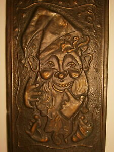 Gnome Vtg Embossed Metal Picture Old Bearded Man Dwarf Treasure Guard Painting