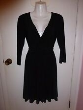 WHITE HOUSE BLACK MARKET, SZ S, BLACK DRESS, TIE AT WAIST, CROSSOVER FRONT