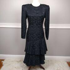 Argenti 100% Pure Silk Vintage Drop Waist Layered Ruffle Black Dress Size 6