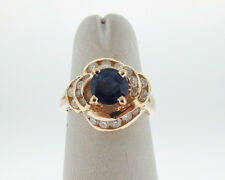 Natural 1.50cts Blue Sapphire Diamonds Solid 14k Yellow Gold Ring FREE Sizing