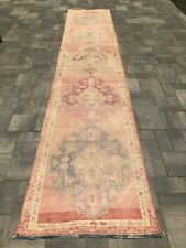 """Turkish Wool Runner, Vintage Hand Knotted Soft Pile 13'5""""x 2'9"""", FREE SHIPPING!"""
