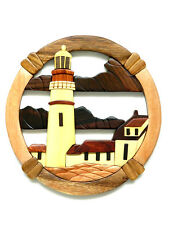 Portland Head Lighthouse Intarsia Wood Wall Art Home Decor Plaque Lodge New