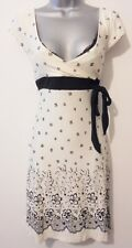 Jane Norman Cream & Black Lace Print Mock Wrap Summer Occasion Day Dress 12/14