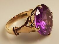 Estate 14K Yellow Gold Filigree Ring with Large Round Faceted Purple Sapphire