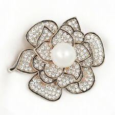 Charm Crystal Camellia Pin Brooch 18K Gold Plated Brooch Women Gift