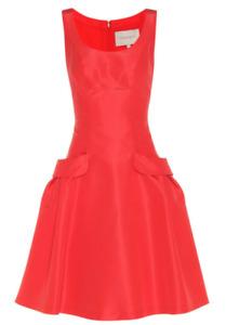 9C15 MSRP $2445 Women's SZ 8 CAROLINA HERRERA Silk Dress In Red
