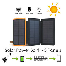 300000mAh Portable Solar Charger Dual USB External Battery Power Bank