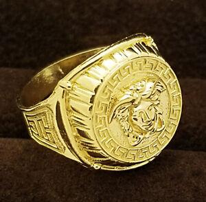 10K Yellow Gold Men's Versace Symbol Medusa Face Ring