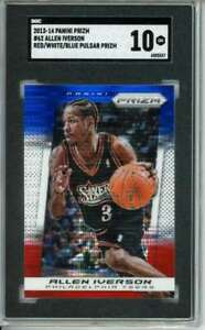 2013-14 Prizm Red White and Blue Pulsar #214 Allen Iverson SGC 10 76ers