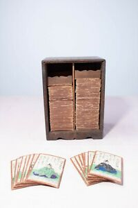 Antique Vintage Oriental Japanese Hand Painted Uta-Garuta Playing Cards