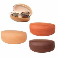 1 Large Hard Sunglasses Case Wooden Design Eye Glasses Portable Wood Clam Shell