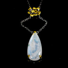 Handmade40ct+ Natural Moonstone 925 Sterling Silver Necklace Length 15/N03024